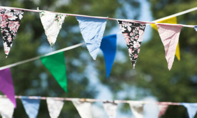 Rows of coloured bunting