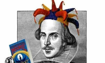 An image of Shakespeare holding a book and wearing a jester's hat
