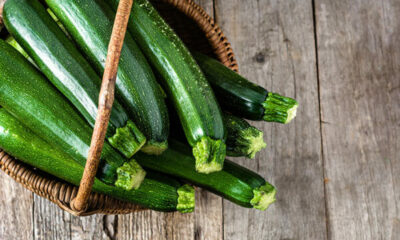 A basket of courgettes