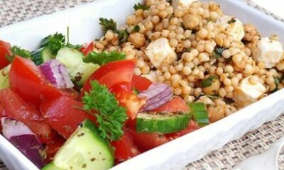 Couscous and a tomato salad in a dish