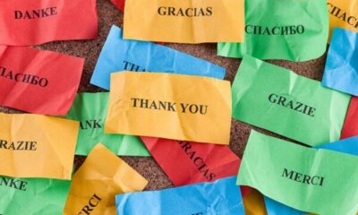 Different coloured post-its with thank you written in different languages