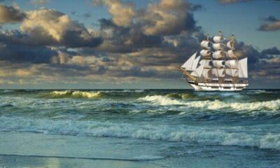 An old sailing ship at sea