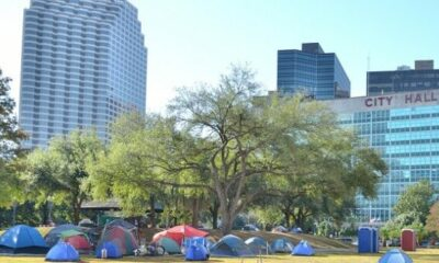 City Hall with tents camped outside