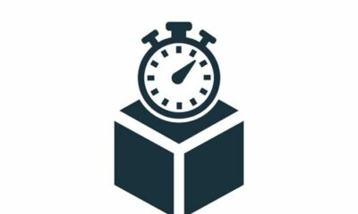 A graphic pictire of a clock on a box