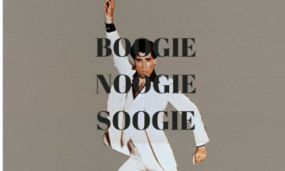 JohnTravolta dancing with text BOOGIE NOOGIE SOOGIE written over his picture