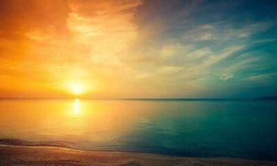sunrise over the sea and beach