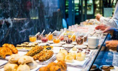 A breakfast/lunch buffet table