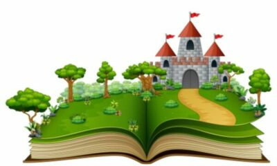 picture of an open book with a fairytale castle and grounds coming from open pages