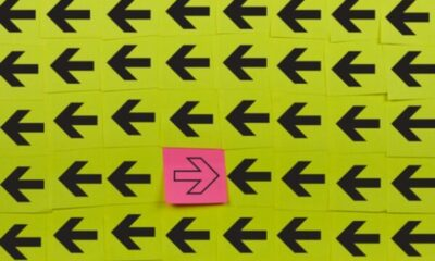 a rectangle of yellow squares with black arrows, and a single pink square with arrow in opposite direction