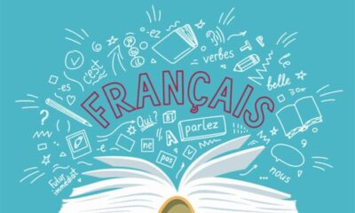 picture showing an open book with français written and white symbols shown on the blue background