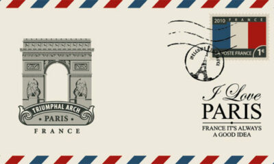 airmail envelope with French stamp, and I Love Paris on the front