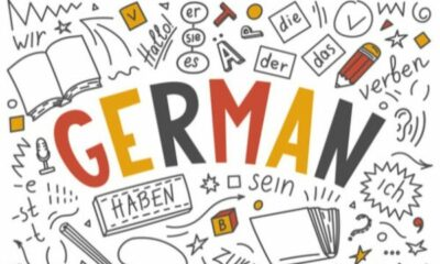 GERMAN written on a white background with black German text and pictures on it