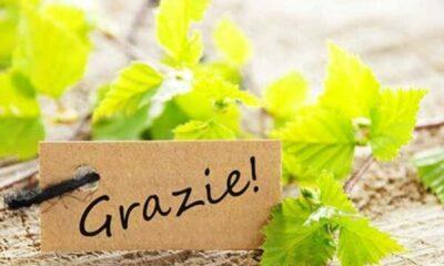 Grazie! written on a brown label