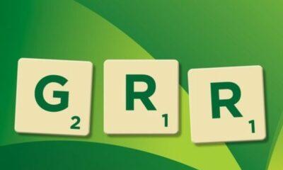 GRR Scrabble tiles on green background