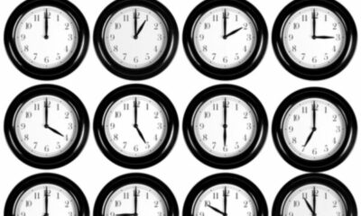 12 clocks each showing a different on the hour time