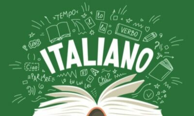An open book with ITALIANO written on a green background with white italian text and pictures