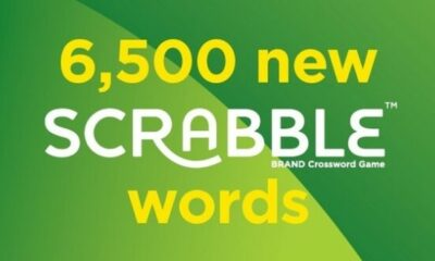 banner with 6500 new scrabble words written on it