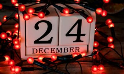 block calendar showing 24 december, red christmas lights around it