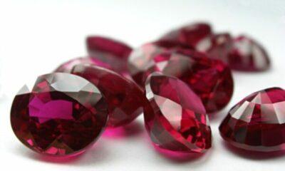 a pie of red gemstones