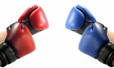 2 pairs of handings, one wearing red boxing gloves, the other blue boxing gloves