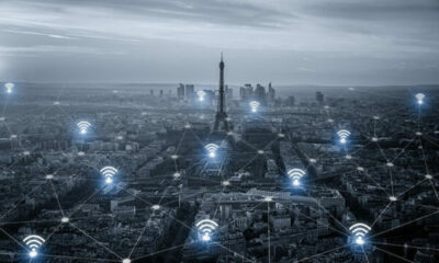 Paris with Eiffel Tower, wifi symbols indicating connectivity
