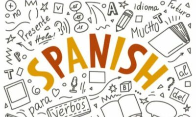 SPANISH written on a white background with black spanish text and pictures