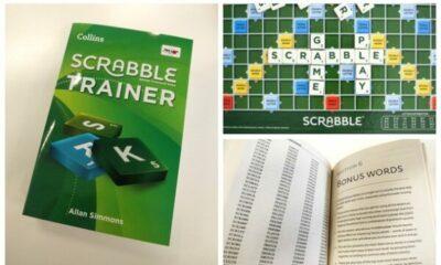 Scrabble trainer book and scrabble board