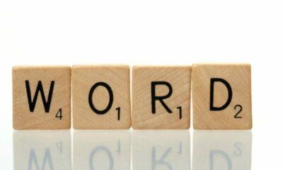 wooden scrabble tiles: WORD