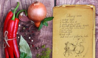 recipe card and some vegetables